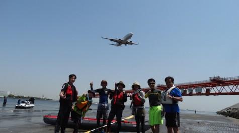 【羽田空港周辺を満喫!】飛行機を真下で!貝採りもたっぷりカヌーツアー
